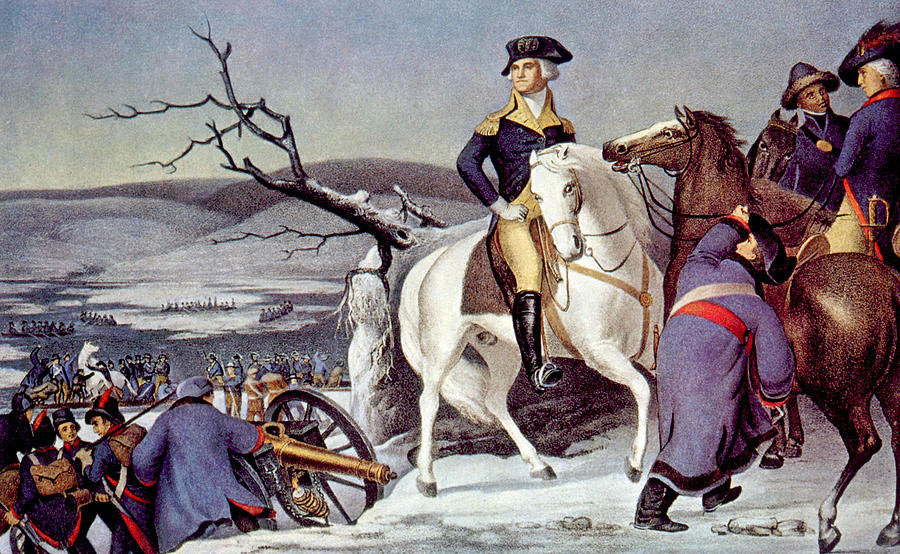 George Washington after crossing the Delaware River: Battle of Trenton on 25th December 1776 in the American Revolutionary War