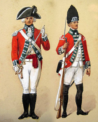 Officer and Grenadier of 24th Foot: Battle of Hubbardton 7th July 1777 in the American Revolutionary War