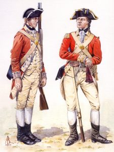 Soldier and Officer of the 27th Regiment of Foot: Battle of Brandywine Creek on 11th September 1777 in the American Revolutionary War