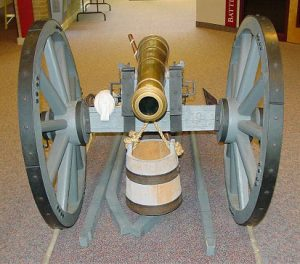 British Royal Artillery 3 pounder 'grasshopper' cannon: Battle of Cowpens on 17th January 1781 in the American Revolutionary War