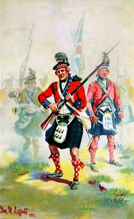42nd Highlanders at the Battle of Harlem Heights on 16th September 1776 in the American Revolutionary War: picture by Charles M. Lefferts