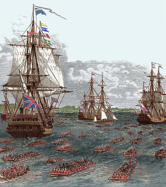 British troops landing from the fleet: Battle of Long Island on 27th August 1776 in the American Revolutionary War