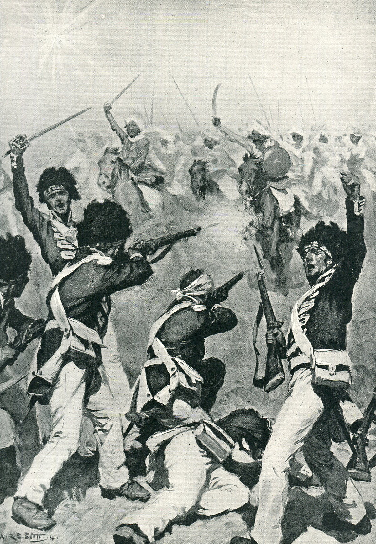 74th Highlanders attacked by the Mahratta Cavalry at the Battle of Assaye on 23rd September 1803 during the Second Mahratta War in India: picture by W.R.S. Stott