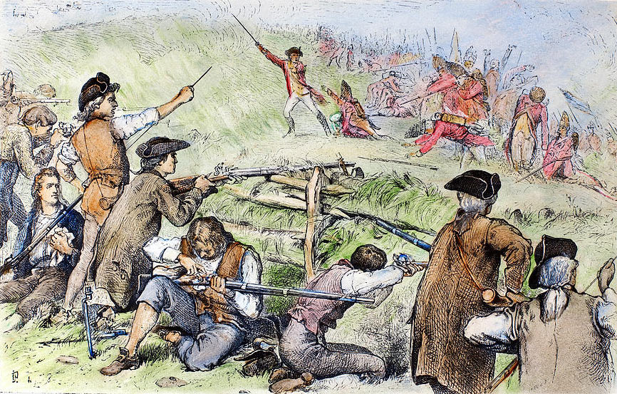American troops repel the first British attack on Breed's Hill: Battle of Bunker Hill on 17th June 1775 in the American Revolutionary War: picture by Charles Henry Granger