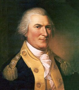 Major-General Arthur St. Clair, American commander at Fort Ticonderoga: Battle of Fort Ticonderoga on 6th July 1777 in the American Revolutionary War: picture by Charles Willson Peale: click here to buy a picture of General St Clair by Peale