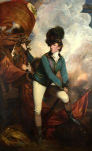Lieutenant-Colonel Banastre Tarleton, British commander at the Battle of Cowpens on 17th January 1781 in the American Revolutionary War: picture by Joshua Reynolds: click here to buy this picture