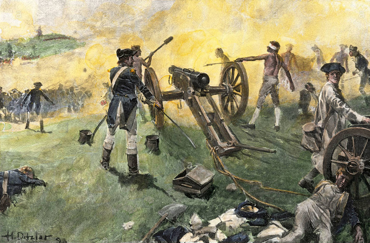 American artillery in action at the Battle of Monmouth on 28th June 1778 in the American Revolutionary War: picture by Hugh Ditzler: buy this picture