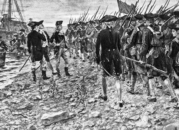 American troops advancing into Canada: Battle of Quebec on 31st December 1775 in the American Revolutionary War