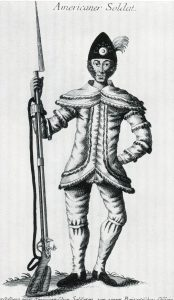 Contemporary German image of an American Militiaman: Battle of Camden on 16th August 1780 in the American Revolutionary War
