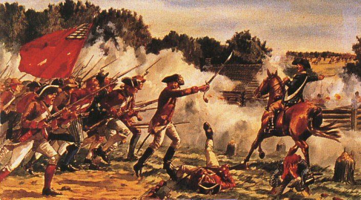 Benedict Arnold leading the American attack at the Battle of Saratoga on 7th October 1777 in the American Revolutionary War