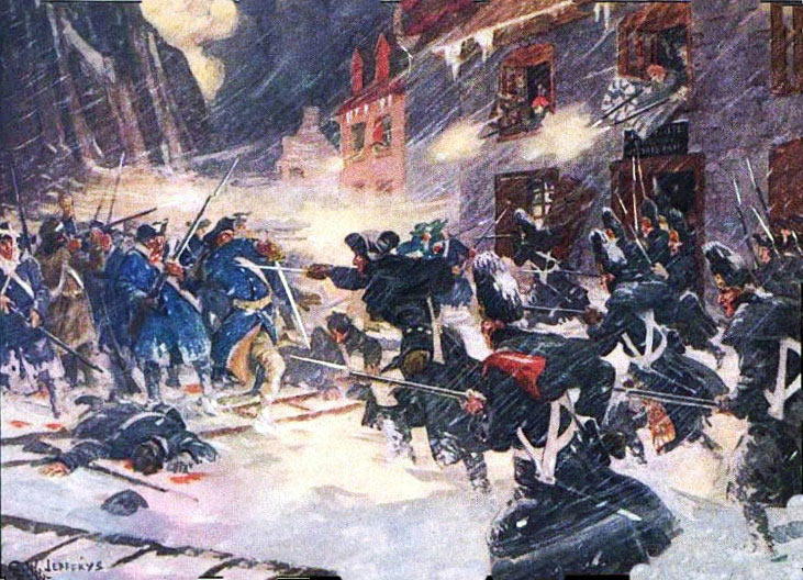 Street fighting between the British and French-Canadians and the American attackers: Battle of Quebec on 31st December 1775 in the American Revolutionary War