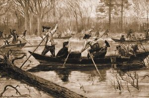 Movement by river: Battle of Saratoga on 17th October 1777 in the American Revolutionary War
