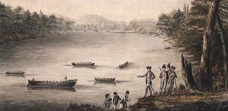 British troops going ashore in Lake Champlain: Battle of Fort Ticonderoga on 6th July 1777 in the American Revolutionary War
