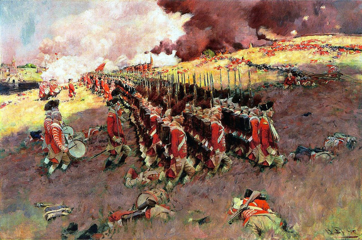 British Grenadiers at the Battle of Bunker Hill on 17th June 1775 in the American Revolutionary War: picture by Howard Pyle: click here to buy this picture
