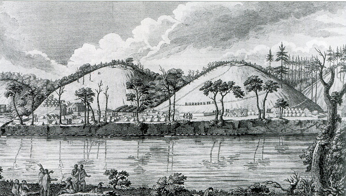 British lines at Saratoga seen from across the Hudson River: Battle of Saratoga on 17th October 1777 in the American Revolutionary War