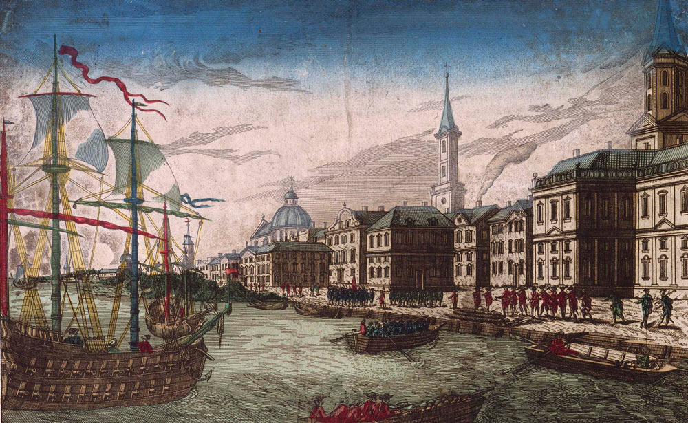British troops landing at New York: Battle of Harlem Heights 16th September 1776 in the American Revolutionary War