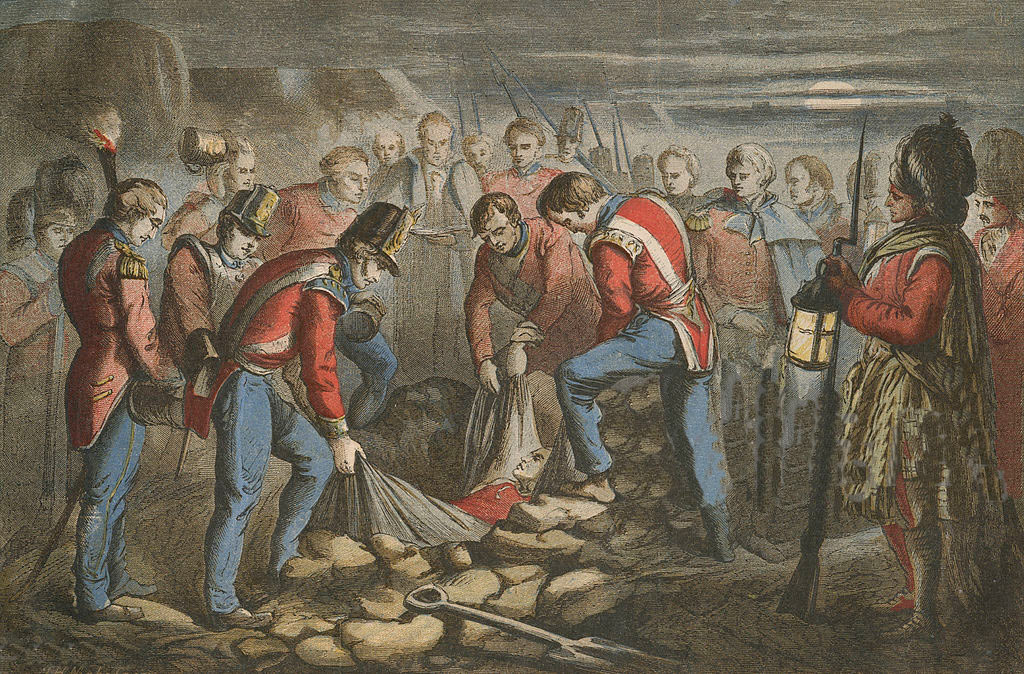 Burial of Sir John Moore at the Battle of Corunna on 16th January 1809 in the Peninsular War