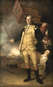 General George Washington at the Battle of Princeton on 3rd January 1777 in the American Revolutionary War: picture by Charles Willson Peale: click here to buy this picture