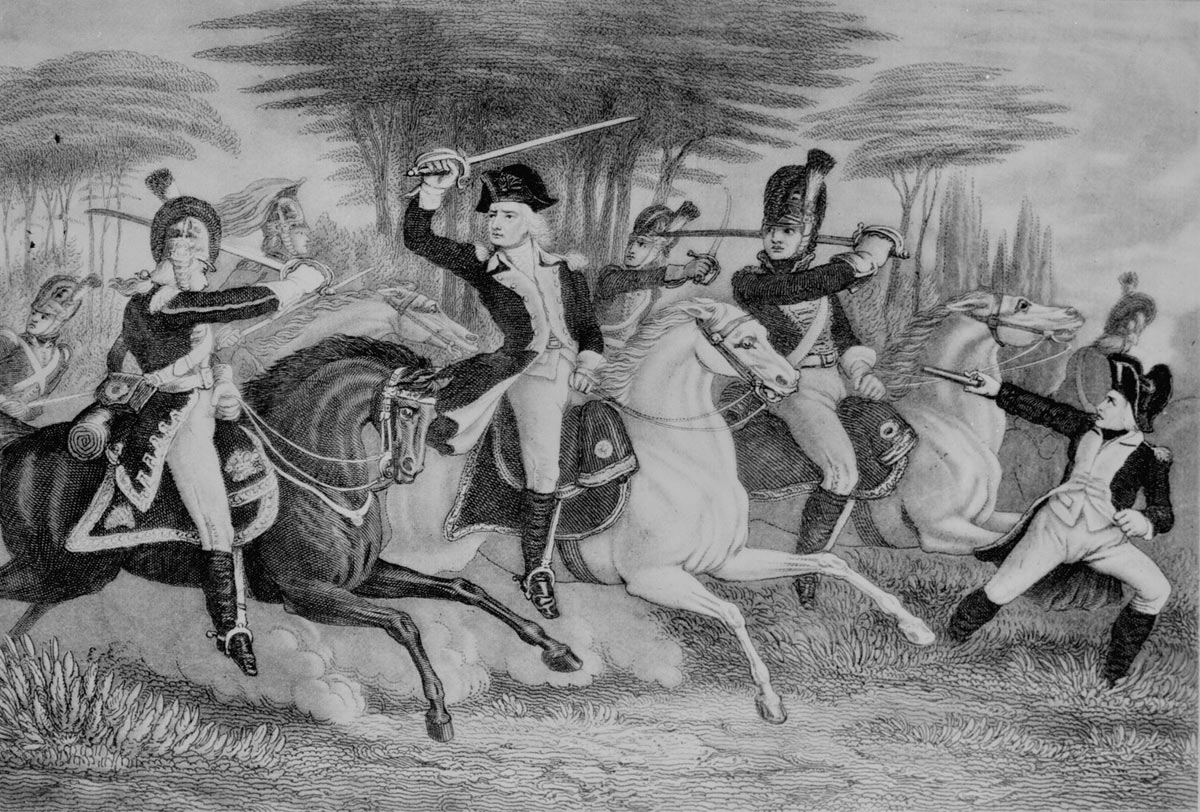 Colonel William Washington under attack during the Battle of Cowpens on 17th January 1781 in the American Revolutionary War: click here to buy a picture of this incident