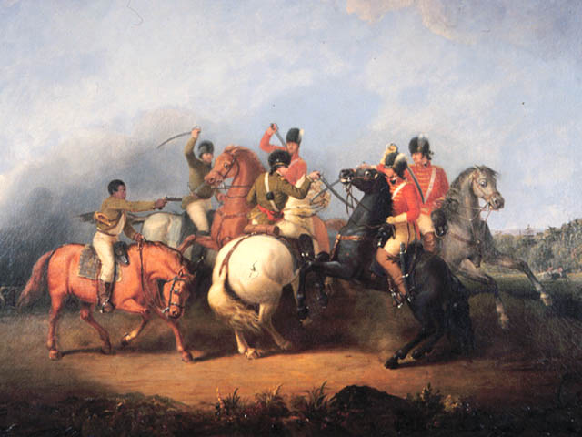 Saving the life of Colonel William Washington at the Battle of Cowpens on 17th January 1781 in the American Revolutionary War : picture by William Ranney