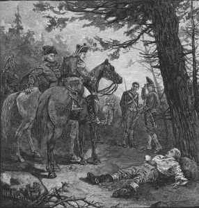 The fatally wounded Kalb found by Cornwallis after the Battle of Camden on 16th August 1780 in the American Revolutionary War