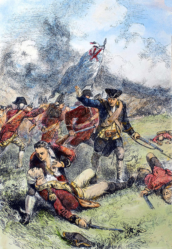 Death of Major John Pitcairn of the British Marines at the Battle of Bunker Hill on 17th June 1775 in the American Revolutionary War: picture by Charles Henry Granger: click here to buy this picture