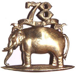 Elephant badge of the 78th Highlanders awarded after the Battle of Assaye on 23rd September 1803 in the Second Mahratta War in India
