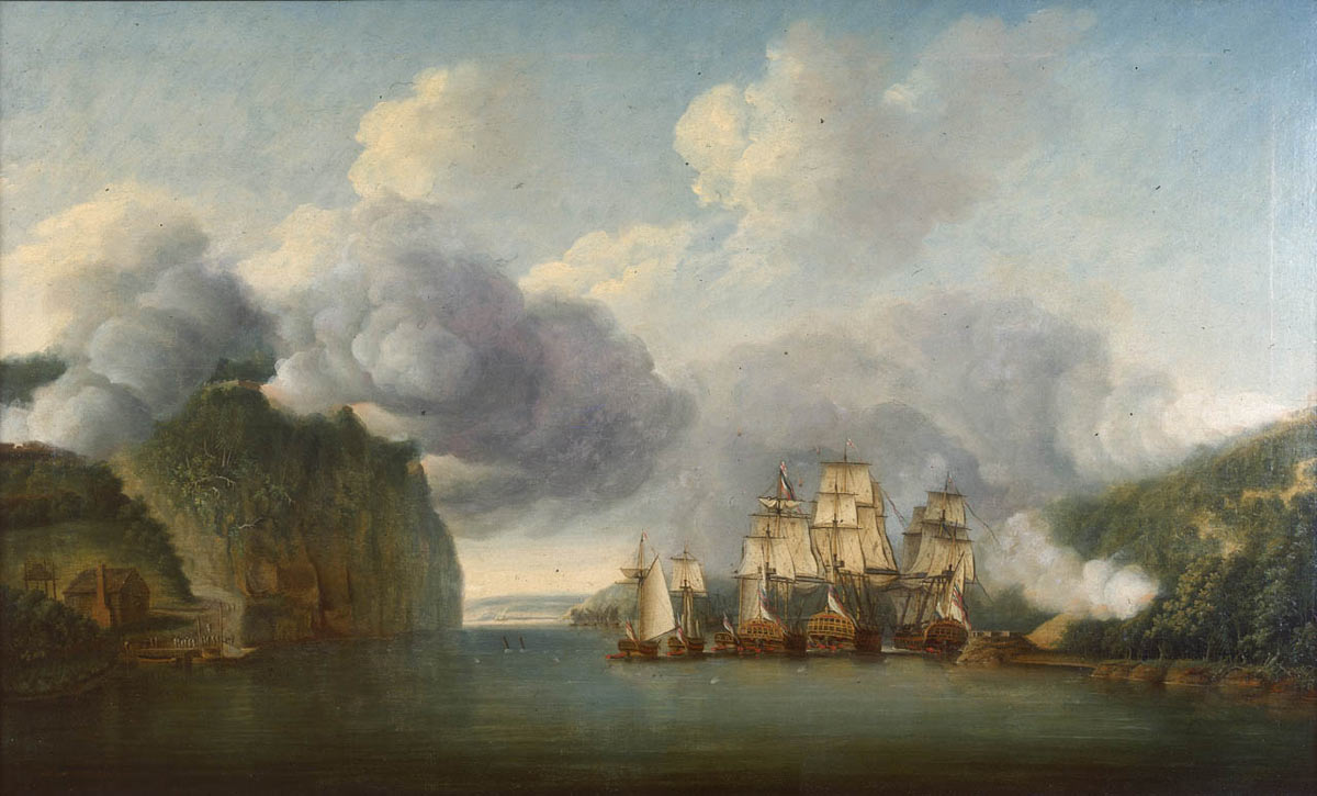 British Royal Navy ships forcing a passage up the Hudson River on 9th October 1776: Battle of Fort Washington on 17th November 1776 in the American Revolutionary War