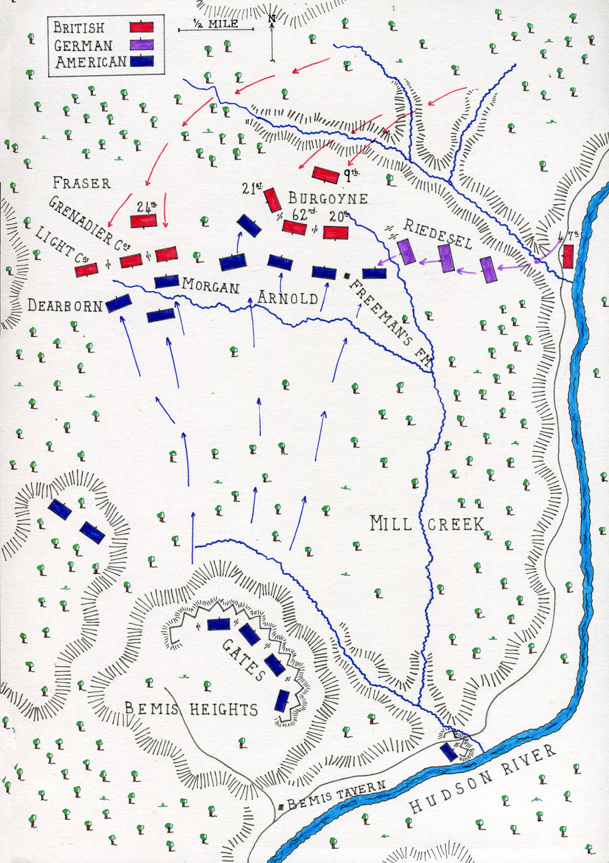 Map of the Battle of Freeman's Farm on 19th September 1777 in the American Revolutionary War: map by John Fawkes