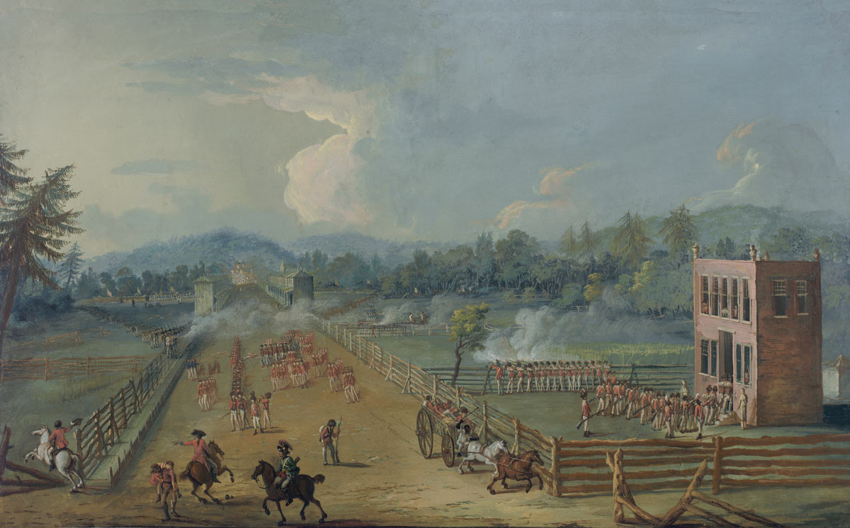 British 40th Foot occupying the Chew House in the Battle of Germantown on 4th October 1777 in the American Revolutionary War: picture by Xavier della Gatta