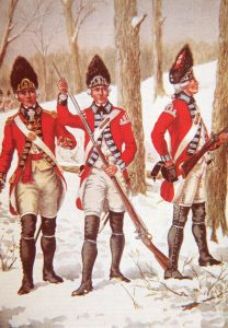 British Officer and Grenadiers: Battle of Princeton on 3rd January 1777 in the American Revolutionary War