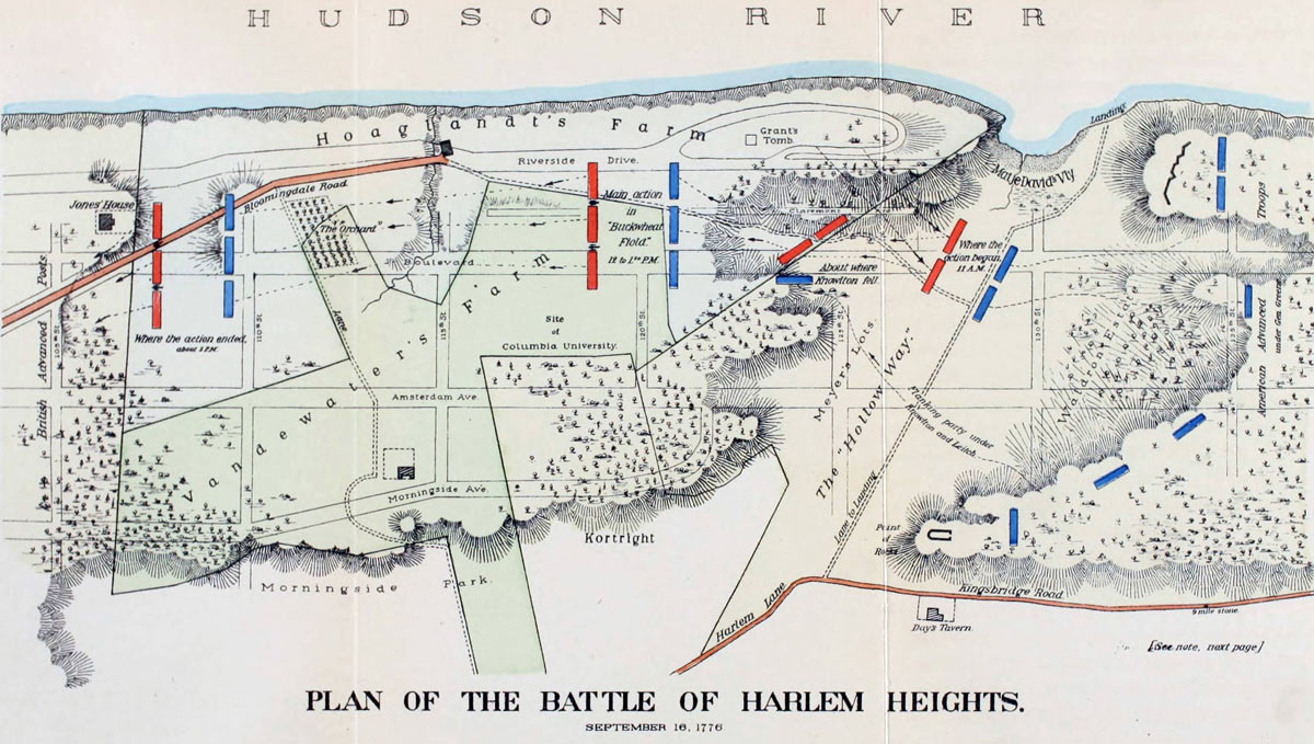 Map of Battle of Harlem Heights 16th September 1776 in the American Revolutionary War