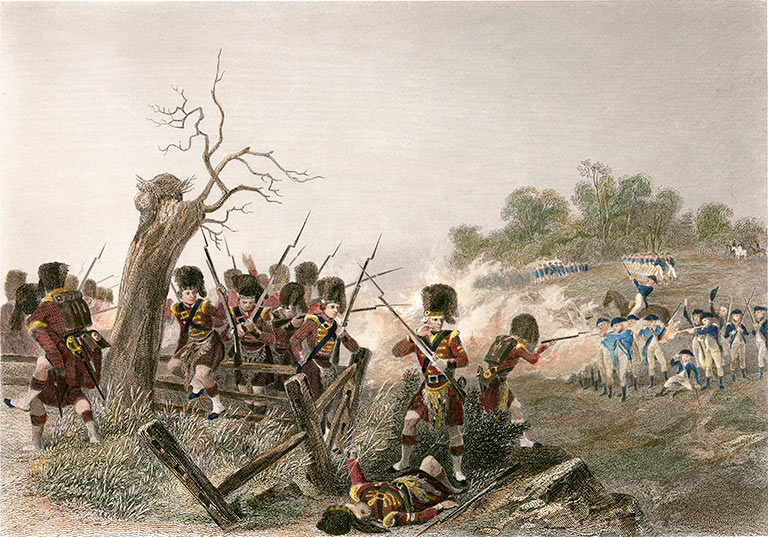 42nd Highlanders at the Battle of Harlem Heights 16th September 1776 in the American Revolutionary War