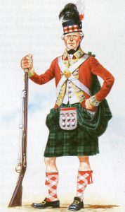 Soldier of a Scottish Highland Regiment: Battle of Camden on 16th August 1780 in the American Revolutionary War