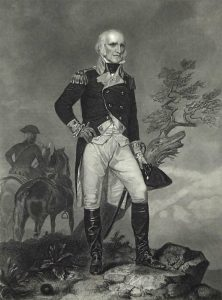 Brigadier John Stark at the Battle of Bennington on 16th August 1777 in the American Revolutionary War: picture by Alonzo Chapell: click here to buy this picture