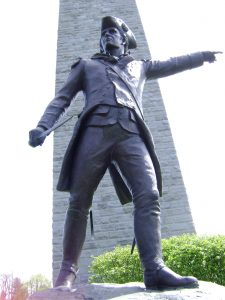 Statue of Brigadier John Stark on the Bennington Battle Memorial: Battle of Bennington on 16th August 1777 in the American Revolutionary War