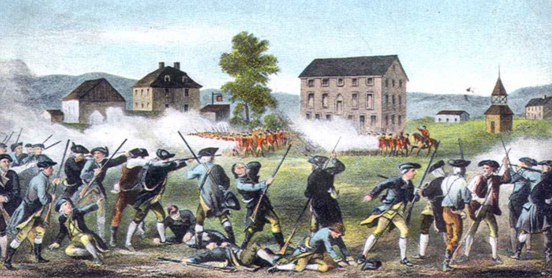 First shots on Lexington Green: Battle of Concord and Lexington 19th April 1775 American Revolutionary War: click here to buy this picture