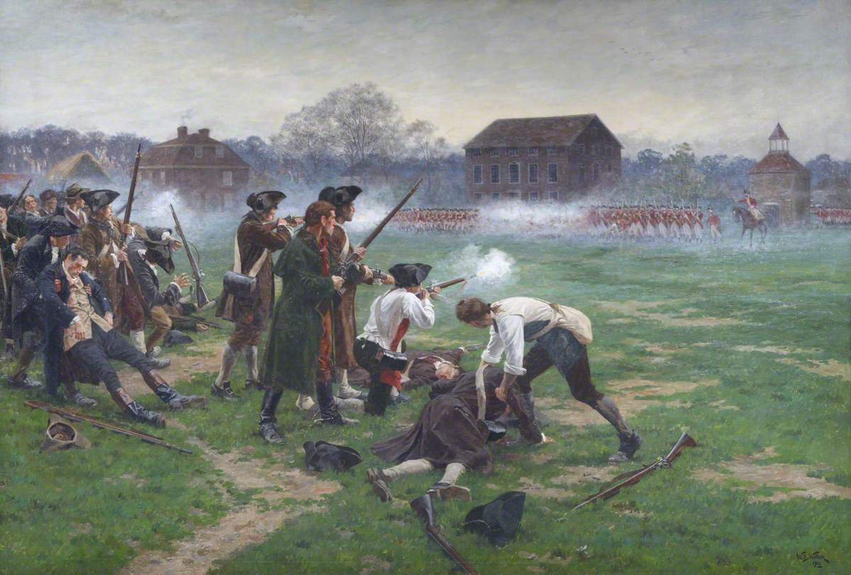 Battle on Lexington Green: Battle of Concord and Lexington 19th April 1775 American Revolutionary War: picture by William Barnes Wollen