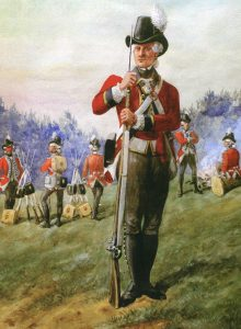 Light Company man 1st Foot Guards: Battle of Guilford Courthouse on 15th March 1781 in the American Revolutionary War
