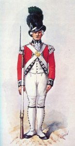 Light Company Man 1st Foot Guards: Battle of Fort Washington on 17th November 1776 in the American Revolutionary War: picture by Richard Simkin