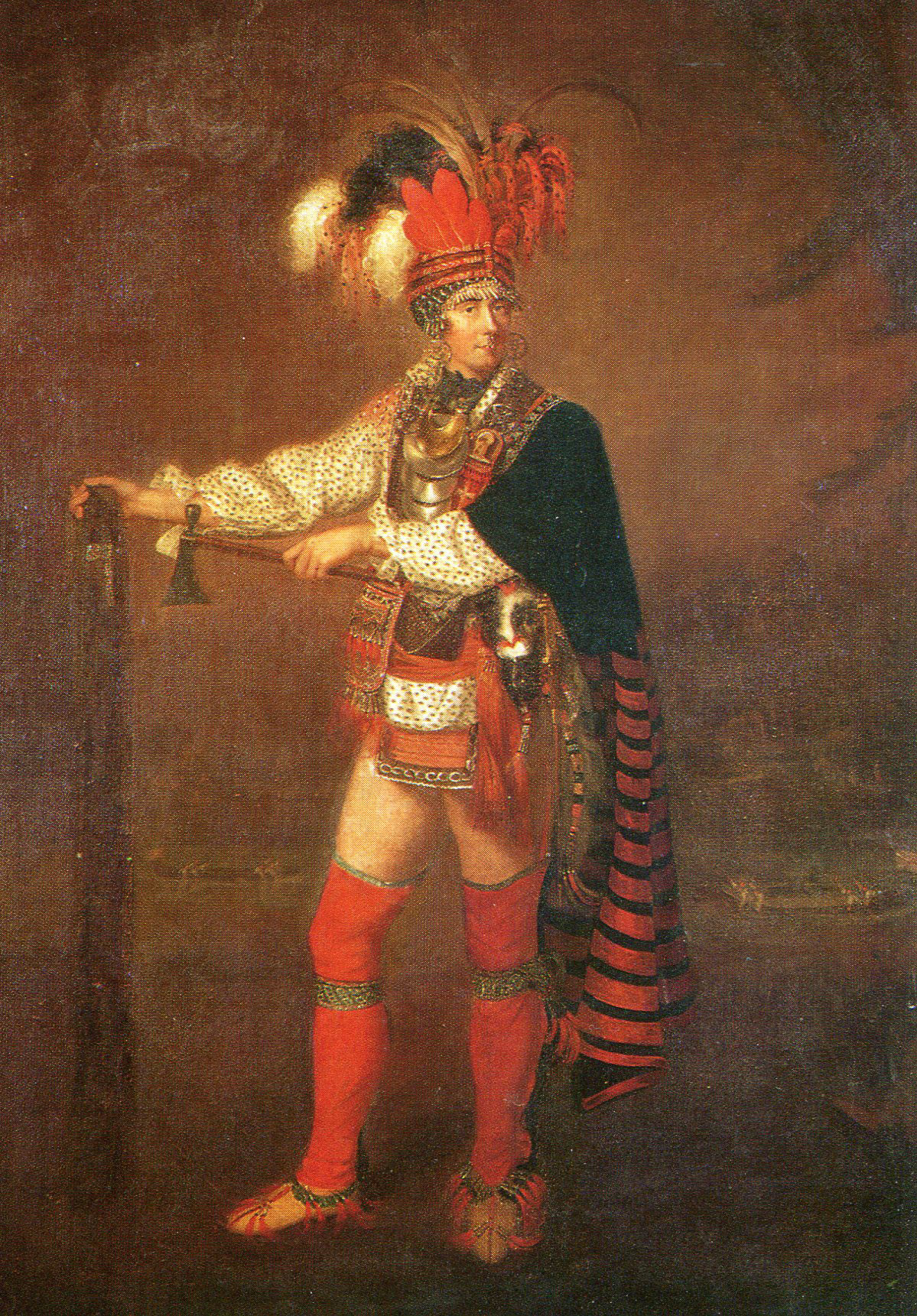 British officer as a Native American Chief: Battle of Freeman's Farm on 19th September 1777 in the American Revolutionary War