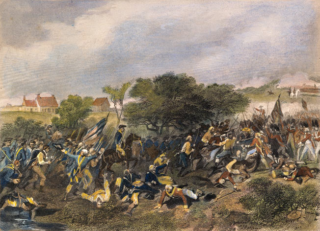 American attack at the Battle of Monmouth on 28th June 1778 in the American Revolutionary War