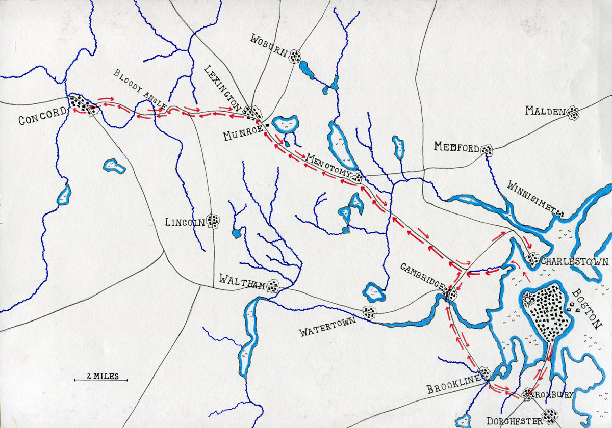 Map of the British route to Concord: Battle of Concord and Lexington 19th April 1775 American Revolutionary War: map by John Fawkes