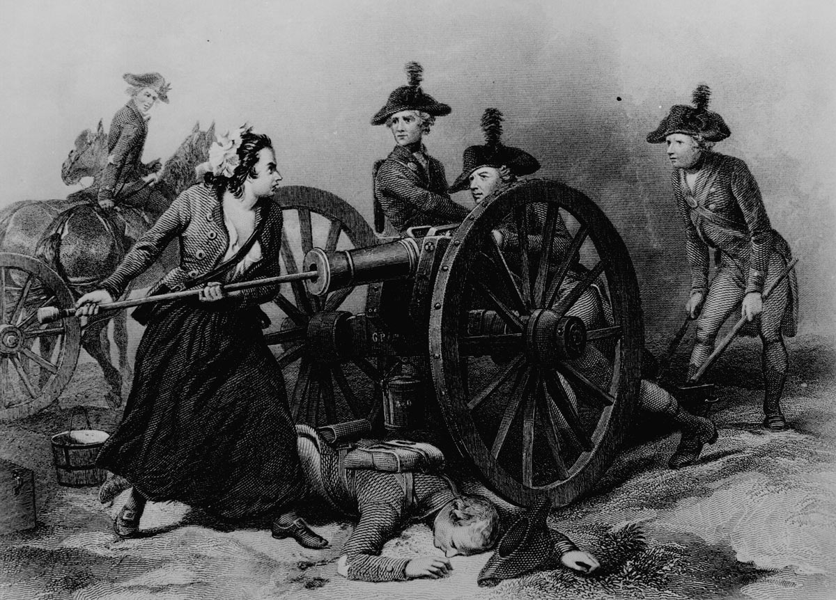 Molly Pitcher at the Battle of Monmouth on 28th June 1778 in the American Revolutionary War: picture by Alonzo Chapell: click here to buy this picture