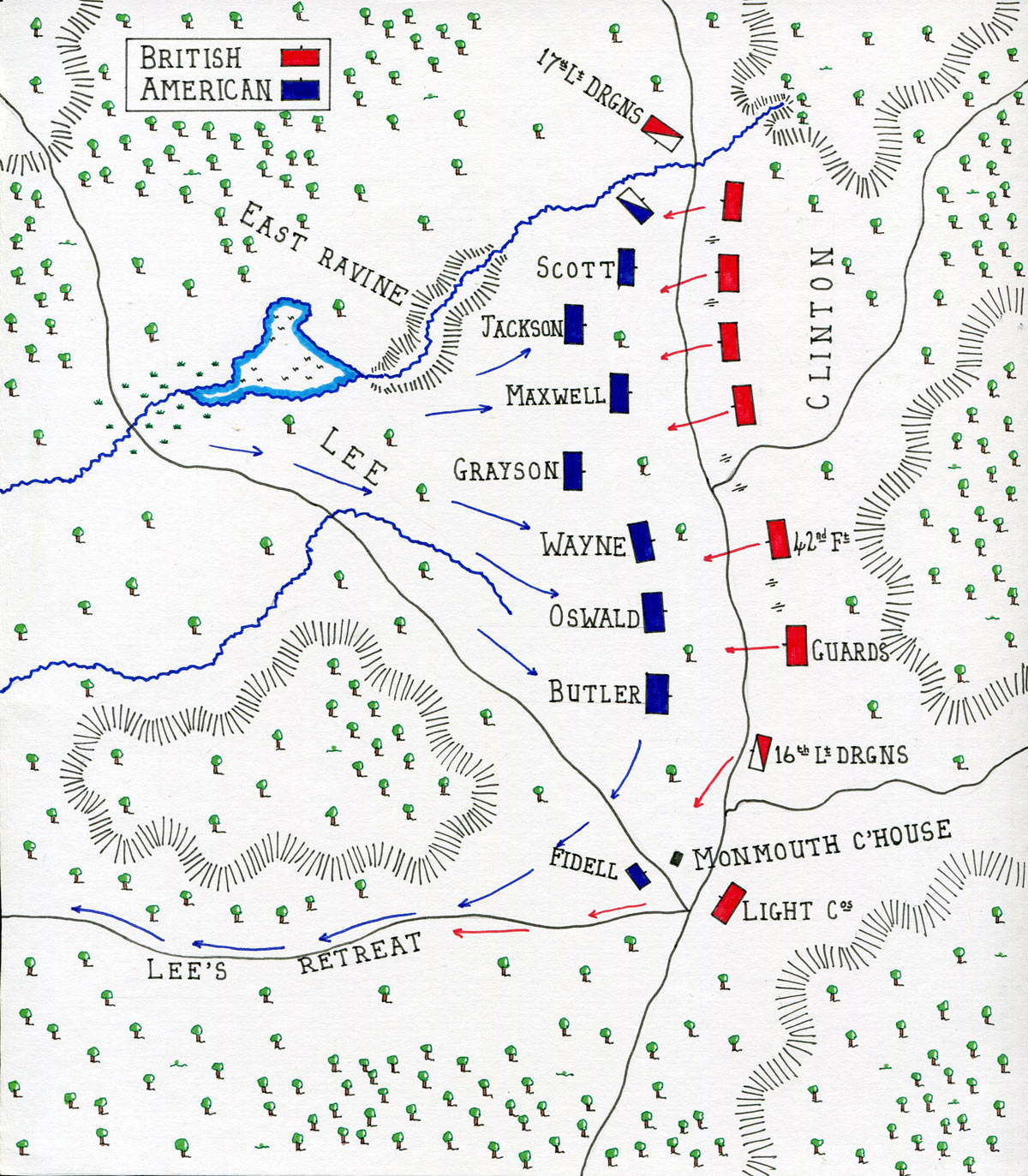 Map of Lee's advance at the Battle of Monmouth on 28th June 1778 in the American Revolutionary War: map by John Fawkes