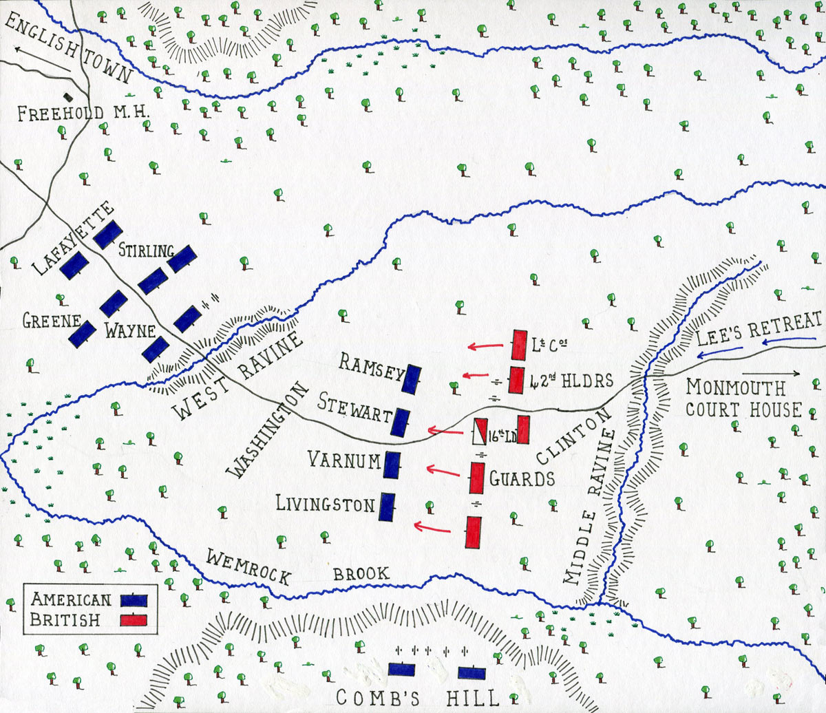 Map of Washington's advance at the Battle of Monmouth on 28th June 1778 in the American Revolutionary War: map by John Fawkes