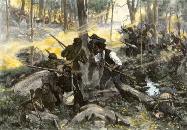 Battle of King's Mountain on 7th October 1780 in the American Revolutionary War: picture by Frederick Coffay Yohn: buy this picture in black and white