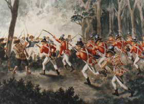 British Light Infantry attack the Pennsylvanian's camp at the Battle of Paoli on 20th/21st September 1777 in the American Revolutionary War