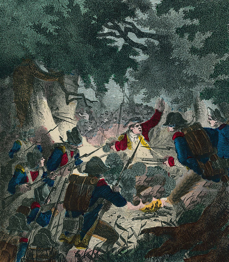 British Light Infantry attack the Pennsylvanian's camp at the Battle of Paoli on 20th/21st September 1777 in the American Revolutionary War (the colourist has transposed the uniform colour so that the British troops appear in blue)