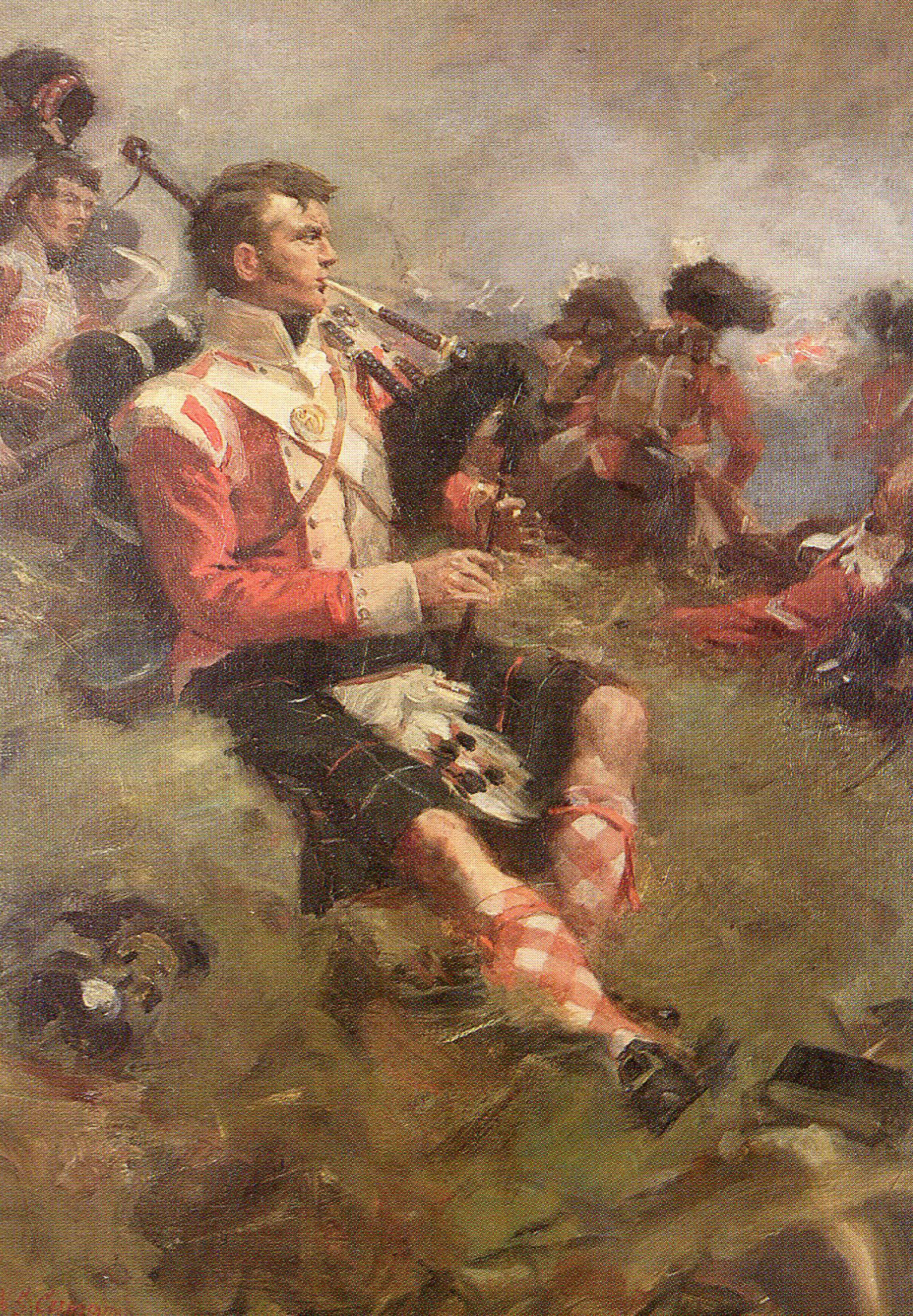 Piper Clark of 71st Highland Light Infantry at the Battle of Vimeiro on 21st August 1808 in the Peninsular War: picture by William Skeoch Cumming